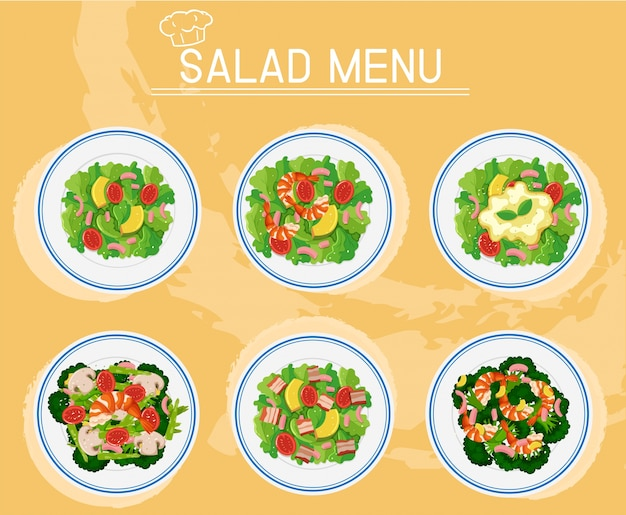 メニューのサラダの異なるプレート