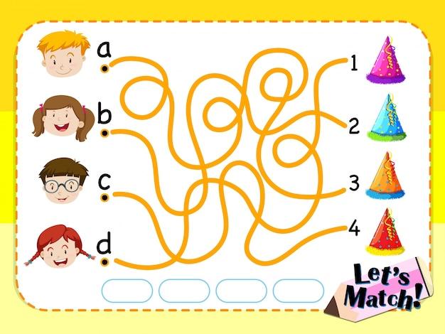 Шаблон игры с соответствующими детьми и шляпами