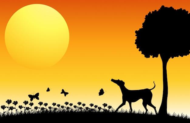 犬と蝶のシルエットシーン