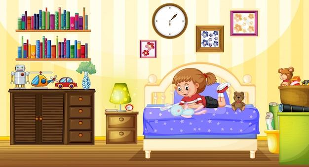 寝室で人形と遊んでいる少女