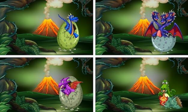 Четыре дракона, вылупляющих яйца в лесу