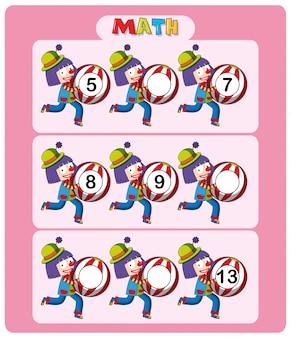 Макет рабочего листа с клоунами и шарами