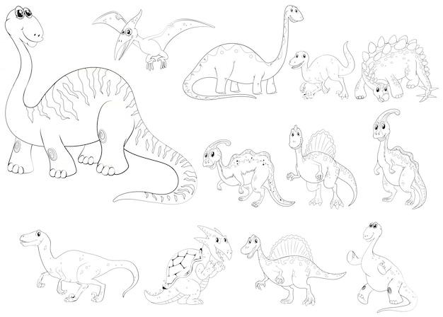 異なる種類の恐竜の動物の輪郭