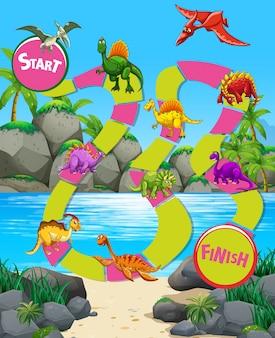 Шаблон игры с динозаврами на пляже