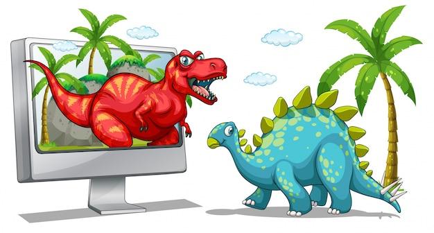 Экран компьютера с двумя динозаврами