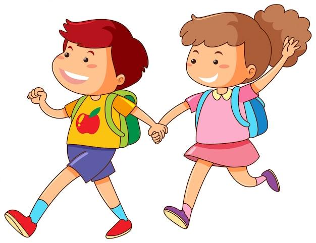 Мальчик и девочка, держась за руки