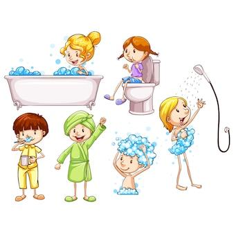 子供たちは毎日のルーチンを実行します