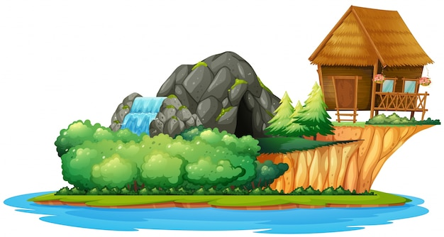島のコテージ付きのシーン