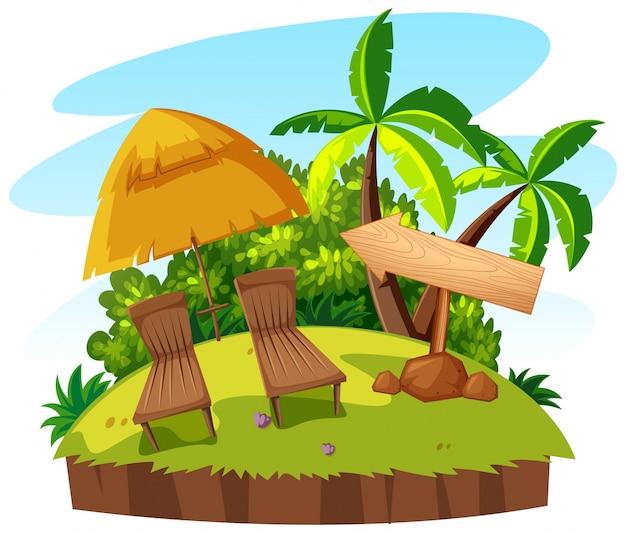 Два места и зонтик на острове