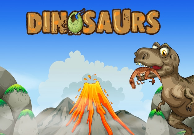 Фоновая сцена с динозавром, едят мясо