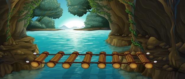 川を渡る橋のあるシーン