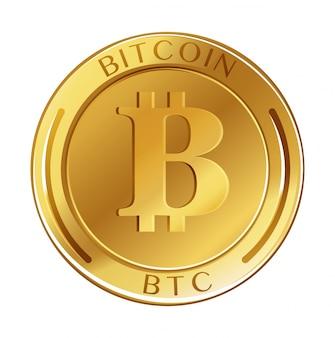 Золотая монета со словом биткойн