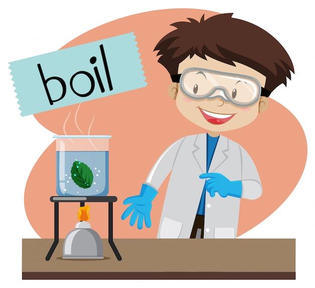 少年が科学実験をする沸騰のためのワードカード