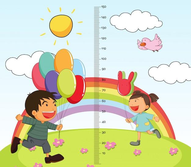 公園の女の子と男の子と成長盗聴のグラフ