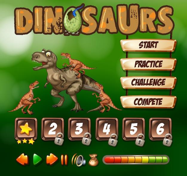Шаблон игры с темой динозавров