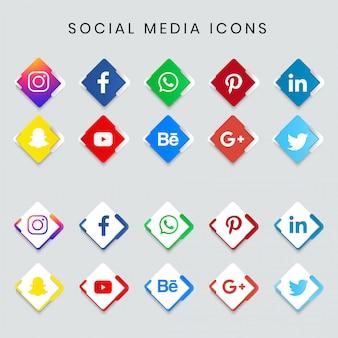 現代の人気のソーシャルメディアのアイコンを設定