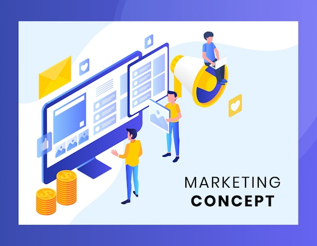 Маркетинговая концепция для целевой страницы векторная иллюстрация
