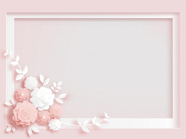 ペーパーカットの白い花とバラ