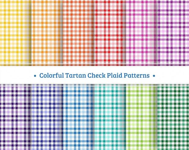 カラフルなタータンチェック格子縞のシームレスパターンセット