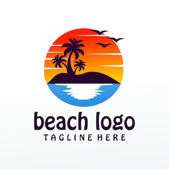 Пляж логотип вектор, шаблон