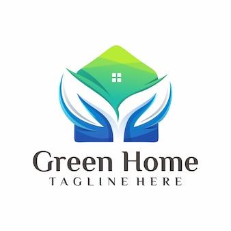 Зеленый дом логотип вектор, шаблон, иллюстрация