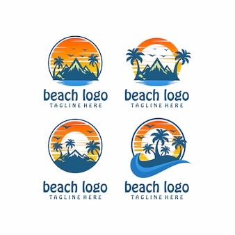 Пляж логотип вектор, шаблон, иллюстрация
