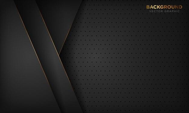Черный люкс абстрактный с золотой линией украшения.