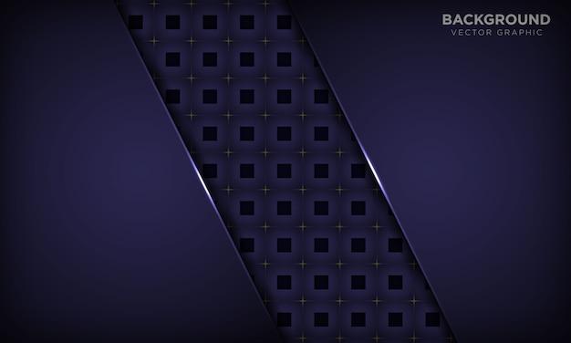 Роскошная фиолетовая абстрактная предпосылка с квадратной геометрической картиной и золотым светлым украшением. современная технологическая концепция.