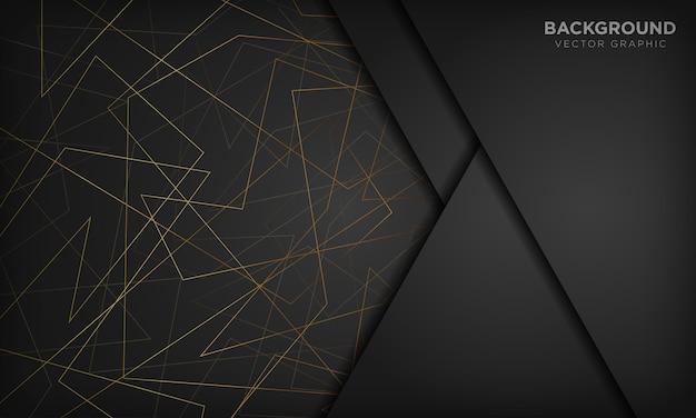 Черный абстрактный фон с золотыми линиями. современная технологическая концепция.