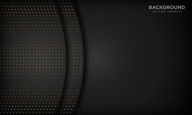 Черный роскошный абстрактный фон с перекрытием слоев. текстура с золотом блестит точечный элемент.