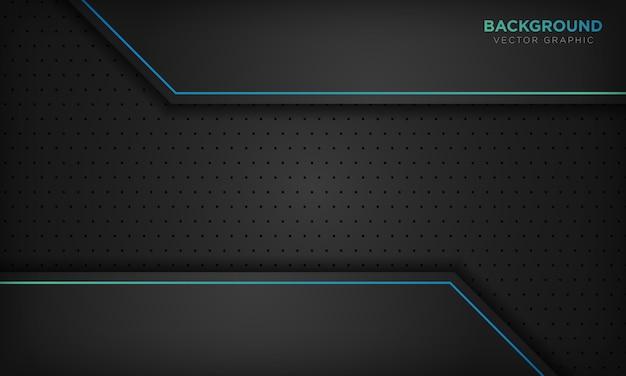 Черный абстрактный фон с синей линией градиента украшения.