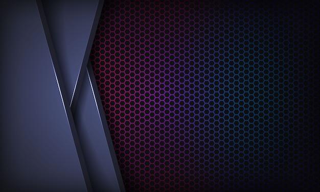 重複レイヤーと抽象的な暗い青色の背景。カラフルな六角形のパターンを持つテクスチャー。