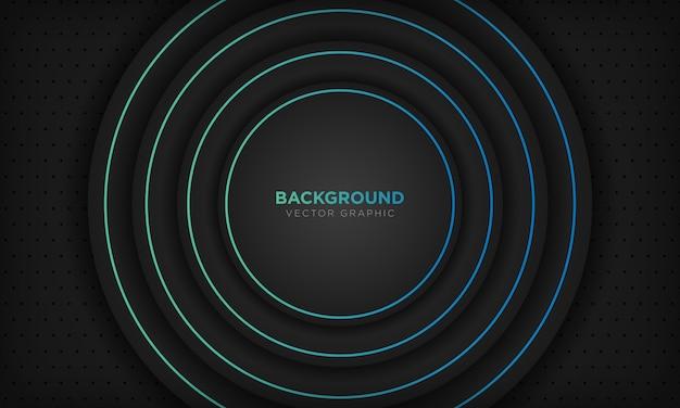 青い線の装飾と黒丸の抽象的な背景。現代の技術コンセプト。