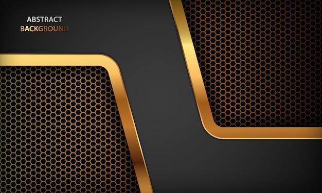 Черный абстрактный фон роскоши. текстура с реалистичным золотым дизайном. современный темный фон.