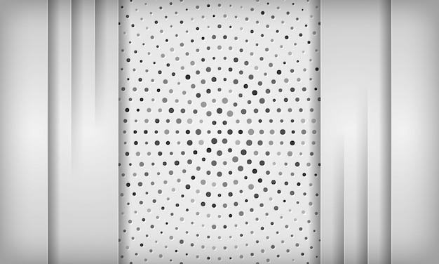 サークルハーフトーンテクスチャ上の重複レイヤーとモダンな白い抽象的な背景。
