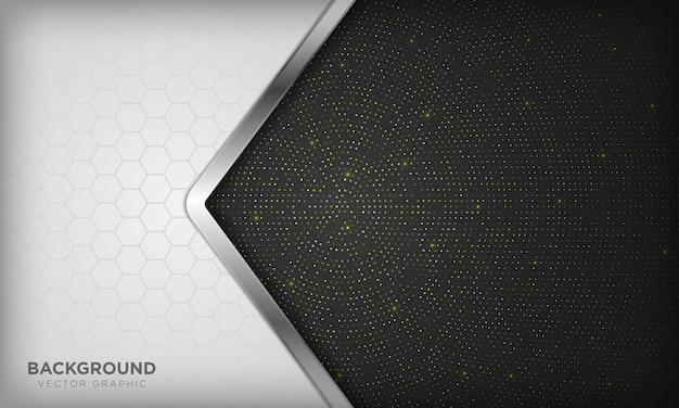 豪華な白と黒の背景に現実的なシルバーラインと光沢のある黄金の放射状ハーフトーンの六角形が重複しています。