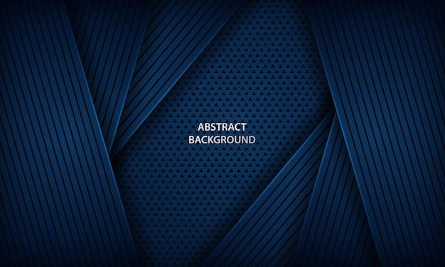 幾何学的図形と抽象的な暗い青色の背景。