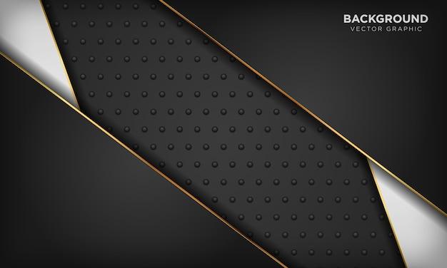 暗い金属の質感に金色の線要素と黒と白の背景。モダンで豪華な背景。