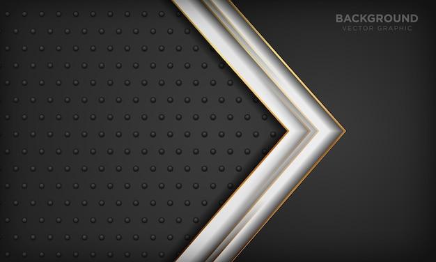 暗い金属の質感に金色の線要素を持つ黒と白の背景。モダンで豪華な背景。