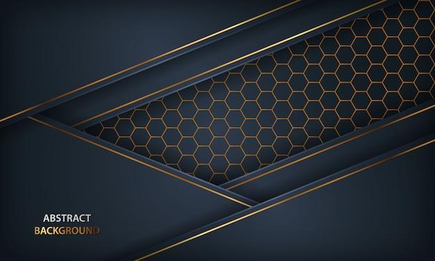 抽象的な暗い青色の背景。金色の要素と六角形のデザインを持つテクスチャー。