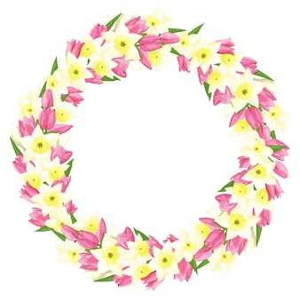 水仙とチューリップの春の花輪
