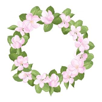 リンゴの花の花とフレームの花輪