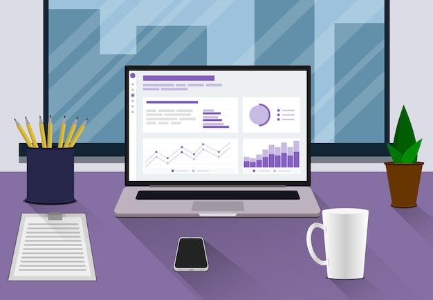ノートパソコン、ドキュメント、電話、コーヒーカップ、机、窓のあるワークスペース。職場のフラットスタイル。ベクトル職場モダンなデザイン。