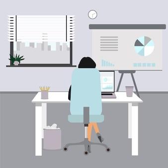 フラットオフィスの概念図。オフィスでのビジネスの女性。椅子、机、コンピューター、コーヒーカップ、窓とオフィスの図。オフィスでの仕事に座っている女性。