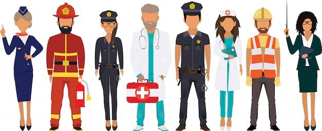 Международный день труда. люди разных профессий установлены. стюардесса, пожарный, полиция, доктор, медсестра, строитель, учитель.