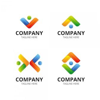 モダンな最小限のカラフルなチームワークのロゴ