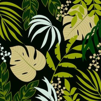 Тропический фон с зелеными растениями и листьями