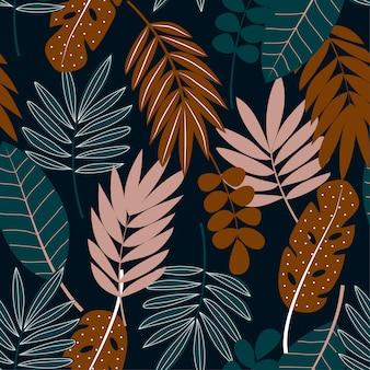 Тропический бесшовный узор с листьями на темном