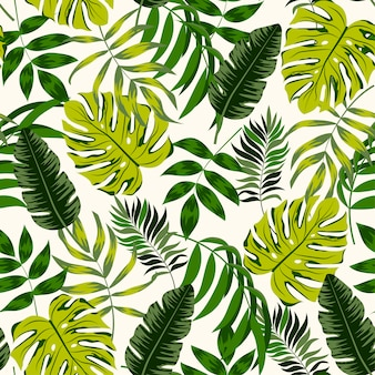 Тропический бесшовный фон с зелеными растениями и листьями