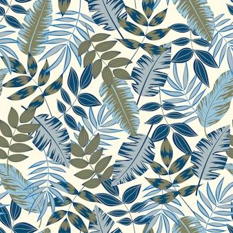 熱帯植物とスタイリッシュなシームレスパターン